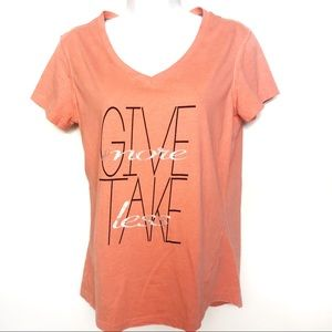 Give More Take Less V Neck Tee Energy Zone Coral